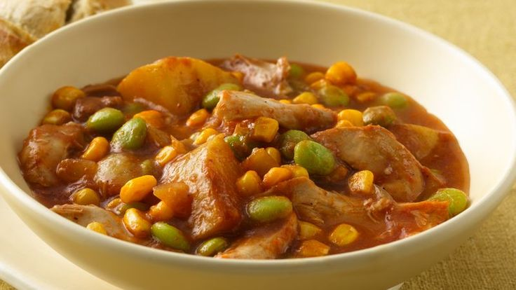 Come home to this filling chicken, beans and vegetables stew recipe that's made stress-free in a slow cooker for dinner.