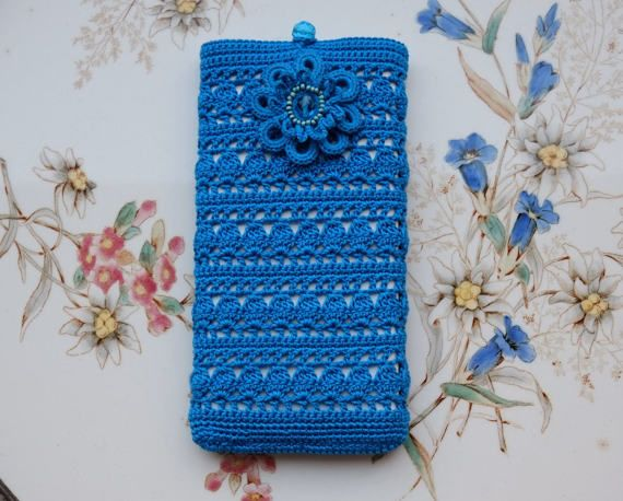 Caso de smartphone de ganchillo, cubierta para el teléfono, accesorios para celular, bolsos románticos, crochet monederos, crochet casos, monedero de ganchillo