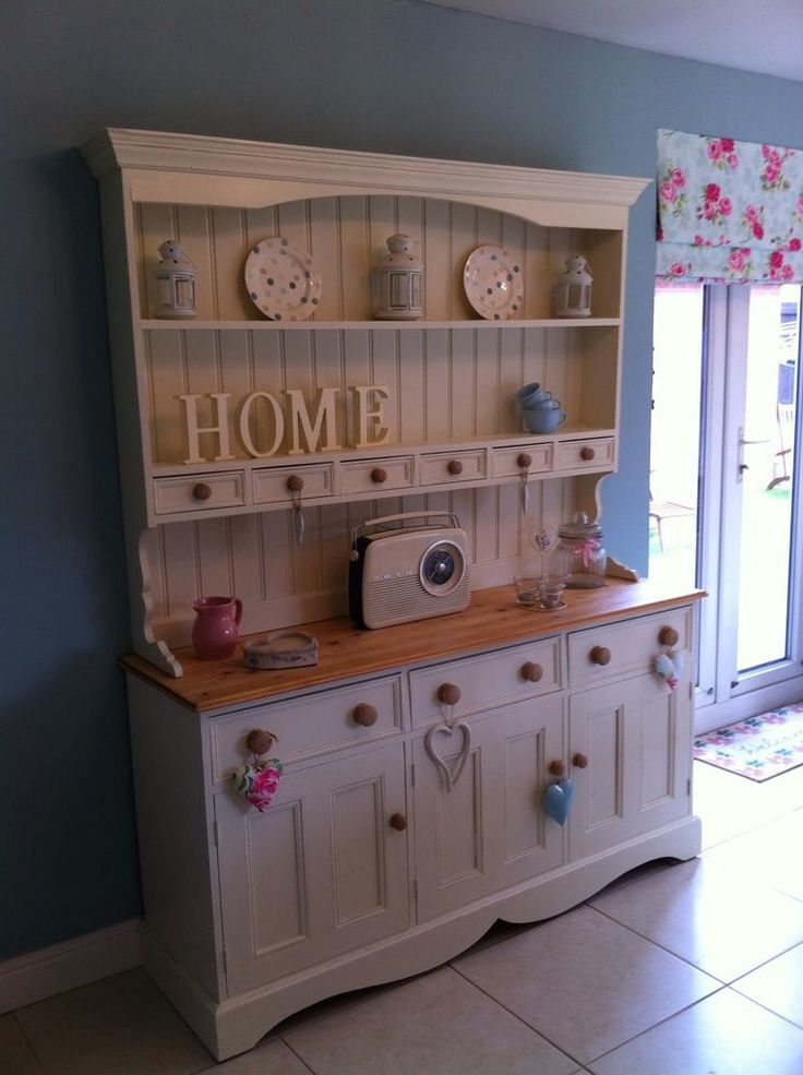 shabby chic 5 foot pine welsh dresser with spice drawers in Laura Ashley White