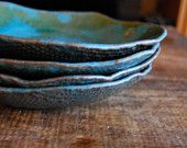 Personalized ceramic  Dinner  plates - Pasta Bowls - stoneware dishes - Set of 4 ceramic tableware Turquoise - wedding gift dinnerware