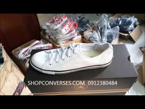 Giày converse slim da trắng thấp cổ chính hãng   Giay converse slim da t...