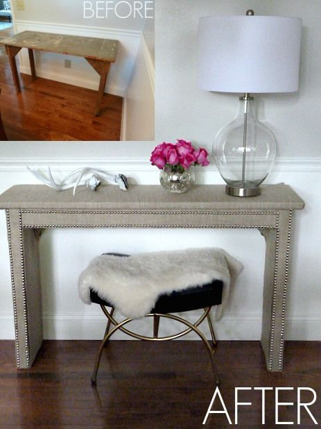 DIY Fabric Table Makeover, Bliss at Home, Give Me the Goods Monday Link Party #22, Amy's Pick: Diy Ideas, Diy Nailhead Furniture, Decor Ideas, Entry Tables, Consoles Tables, Diy Fabrics, Favorite Projects, Nailhead Tables, Tables Makeovers