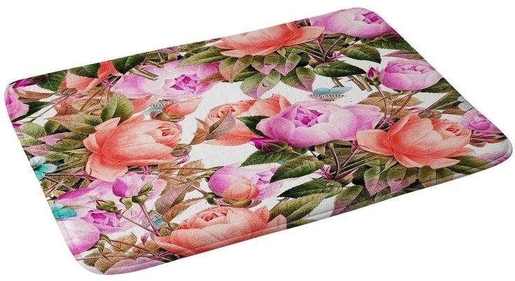 Memory Foam Tropical Floral Bath Mat Decor with Non Skid Backing 24 x 36 Inches #BathMat #MemoryFoamMat #StylishMat #BathRug #SoftMat #DoorMat #Mat #Rug #SkidResistant #NonSlip #Home #Kitchen #Bathroom #Bath #Tropical #FloralMat