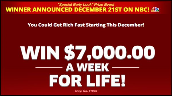 PCH $7,000 a Week For Life Sweepstakes Giveaway No  11000 on