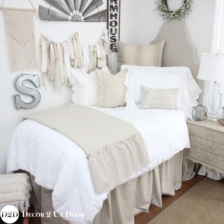 Tan & White Linen Farmhouse Designer Dorm Bedding Set