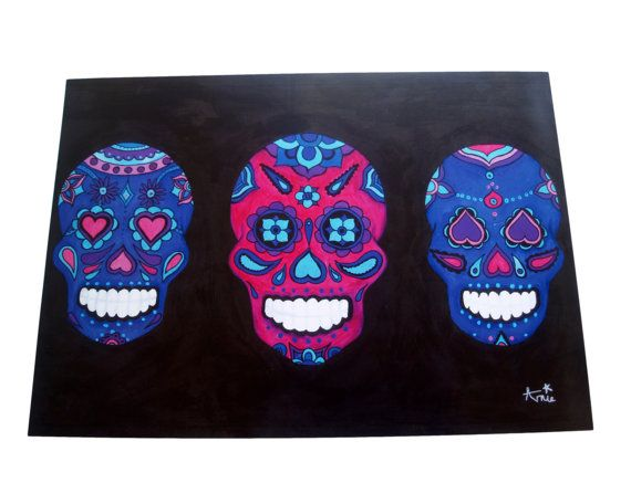 Sugar Skull Original Acrylic Candy Skull Print - Three Amigos Candy Skull- Day of The Dead-Día de Muertos