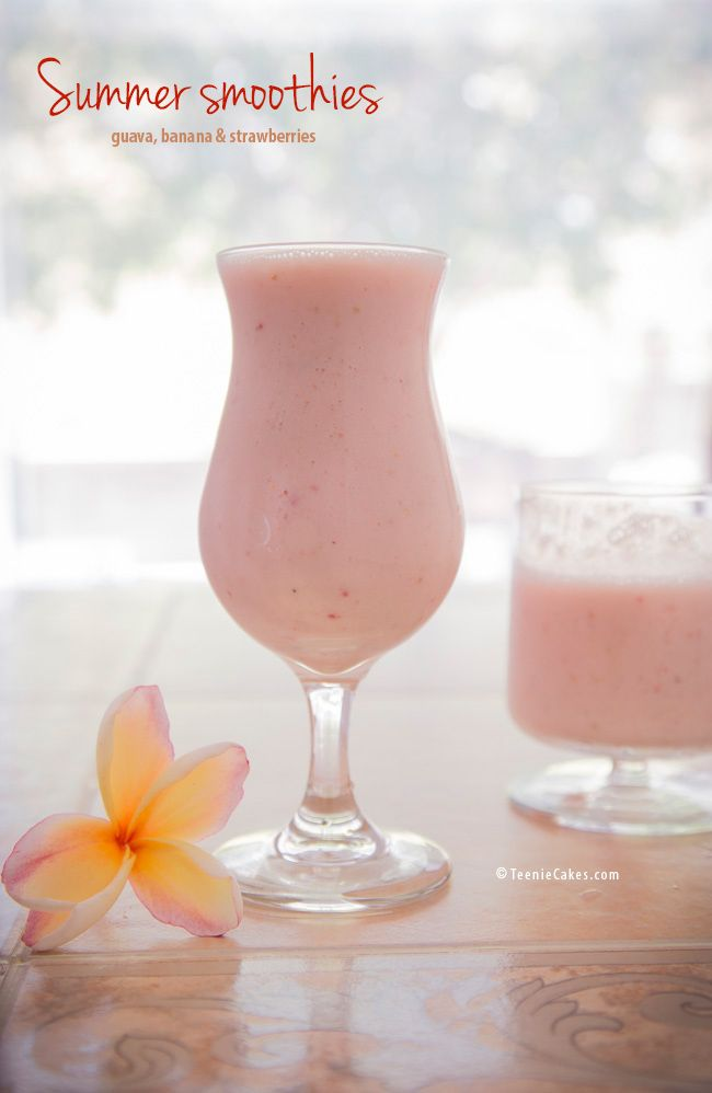 Guava, Banana and Strawberry Yogurt Smoothie recipe | TeenieCakes.com