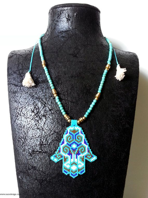 Fatima's Hand  Beaded  Necklace  Star Necklace  by NazoDesign, $63.00