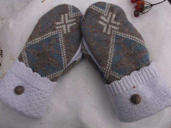 Cozy Sweater Mitten, tan, light blue and white  mittens made from recycled sweaters, fleece lined