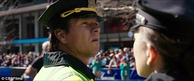 Mark Wahlberg plays a Boston police officer working security at the finish line at the 2013 Boston Marathon that was targeted by bombers in the movie Patriots Day