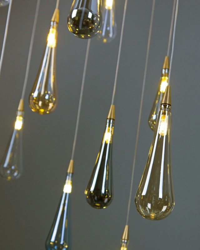 RAINDROP Shakuff Blown Glass Pendant Light Ethereal Drops Of Fall Like Water From