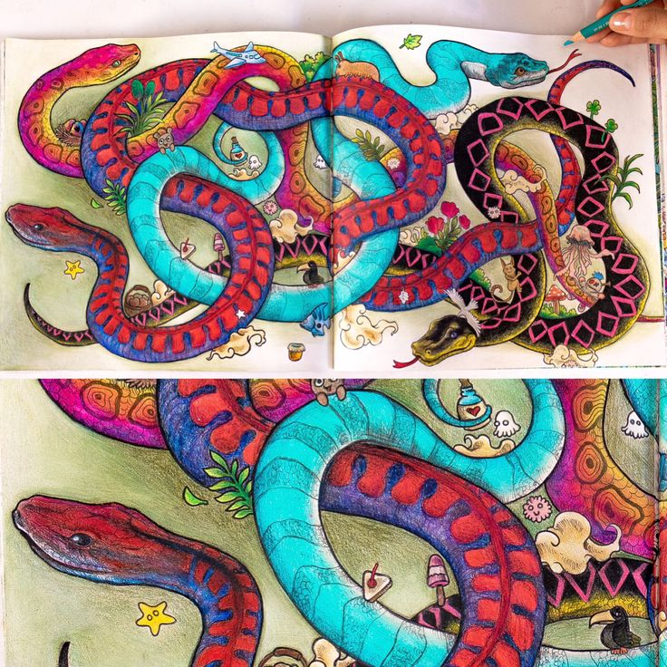 Snakes From Animorphia Coloring Book Swipe Right For Close Up Pictures