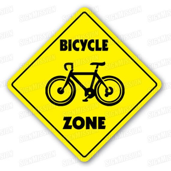 Bicycle Zone Sign Xing Gift Novelty Bike Ride Mountain Road Tire