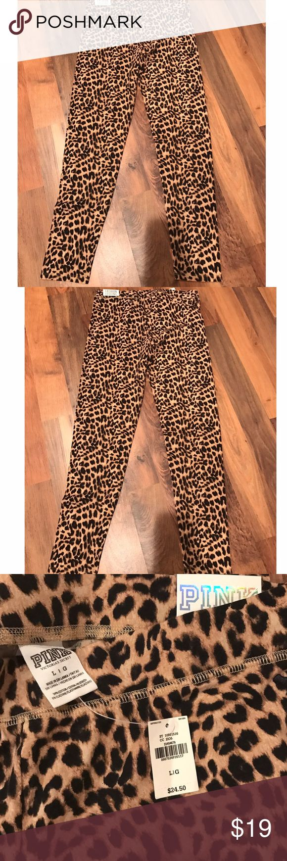 ✨NWT: Pink by Victoria's Secret leopard leggings✨ NWT: leopard print Pink by Victoria's Secret leggings. Size large PINK Victoria's Secret Pants Leggings