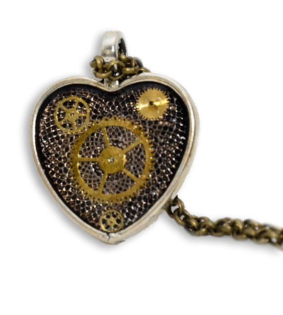 Steampunk Inspired Heart Shaped Pendant. Hand by thelongwayround