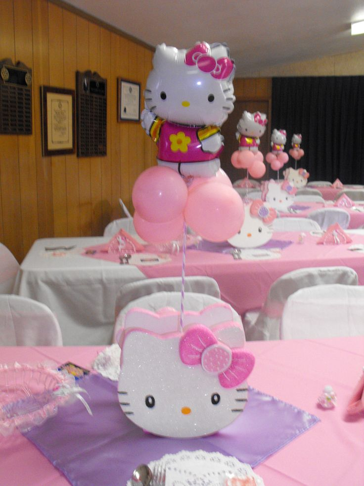 centros de mesa hello kitty - FIESTAIDEAS.