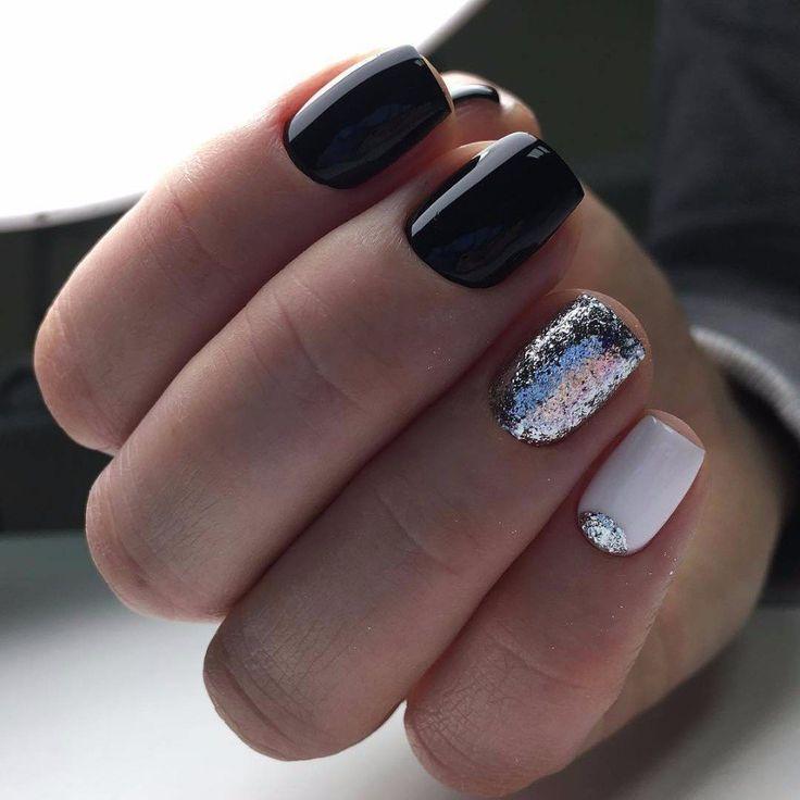 маникюр, ногти, черный, белый, фольга, шеллак, гель-лак, manicure, nail art, gel lak