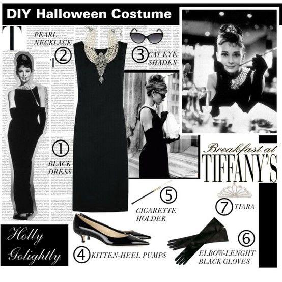 Audrey Hepburn Costume   must long black gloves and long black dress and big black round sunglasses
