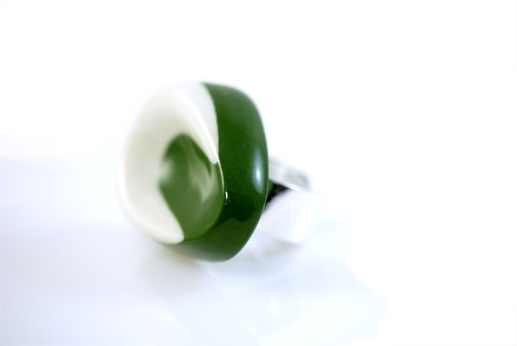Duo colored porcelain ring with Sterling Silver