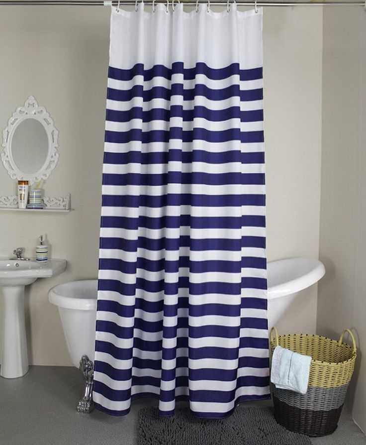 Navy Style Blue White Stripe Fabric Shower Curtain Waterproof, Horizontal Stripes, 94 inches wide by 70 inches long