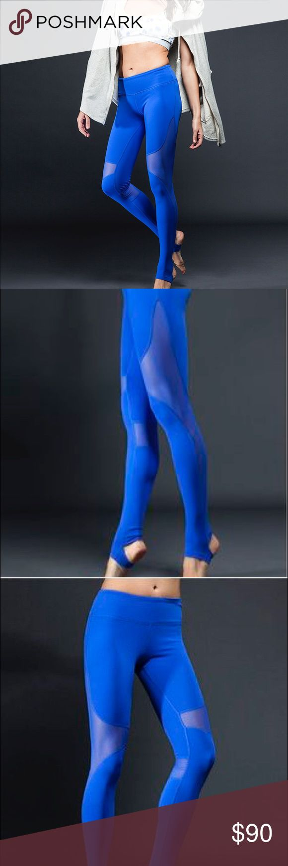 Alo yoga electric blue mesh coast leggings Worn once and realized they don't fit me well. Stirrup legging not lululemon but I think quality is better! They keep everything in and lifted lululemon athletica Pants Leggings