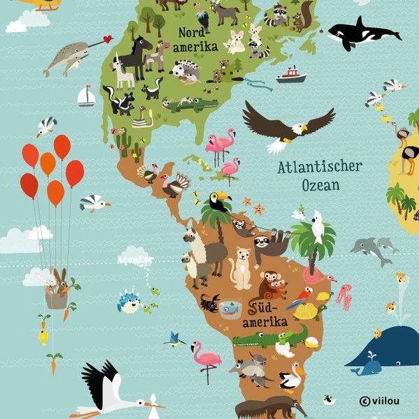 Simple Illustrierte Weltkarte f r Kinder XXL x cm