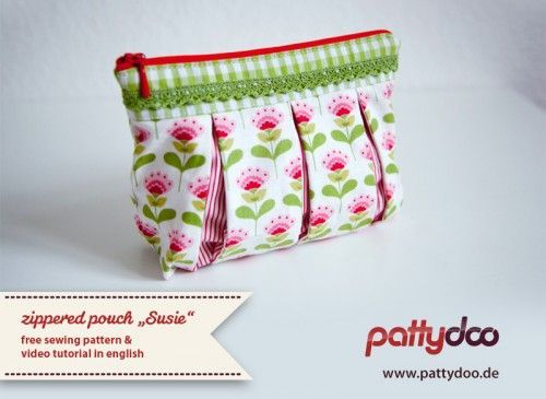 Very Pretty Zippered pouch with Video instructions. in English.