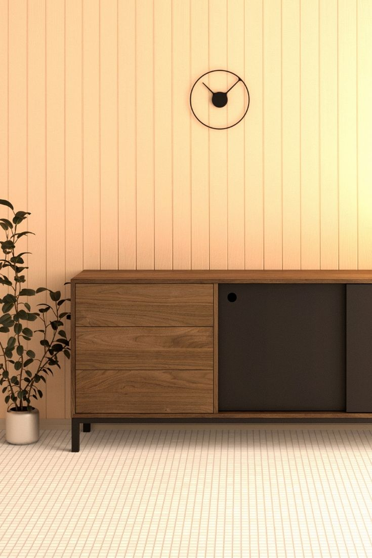 The Hume Buffet Is Handcrafted In Our Montreal Workshop Out Of Solid Wood And Steel Its Design Is Reminiscent Of The Of T Meuble Meuble Scandinave Bois Massif