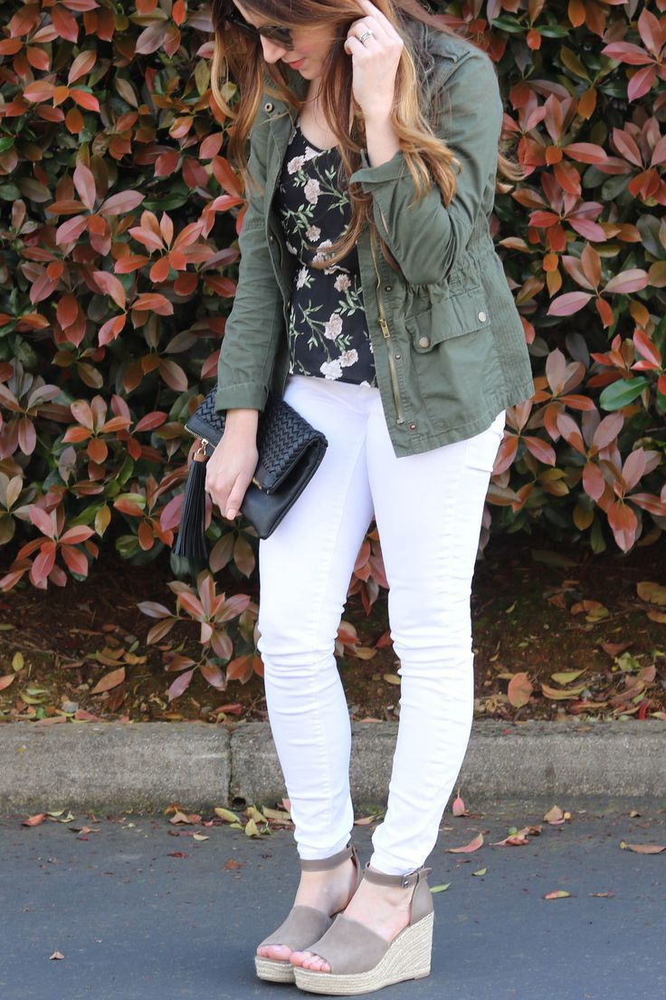 summer outfit, spring outfit, white jeans outfit, green jacket, black floral top