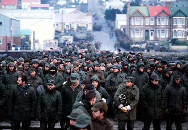 15/06/1982 Argentine prisoners of war massed in Port Stanley, capital of the Falkland Islands, after their surrender to the British Falkland Islands Task Force.15/06/1982