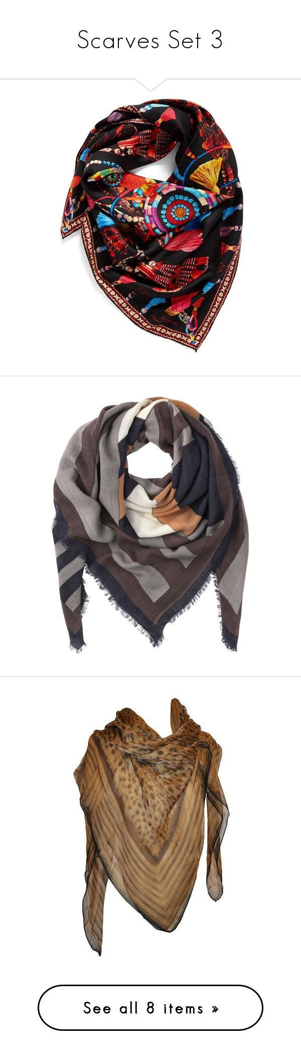 """""""Scarves Set 3"""" by jjsunnygirl ❤ liked on Polyvore featuring accessories, scarves, black, pure silk scarves, tassel scarves, print scarves, silk scarves, echo scarves, lightweight shawl and square scarves"""