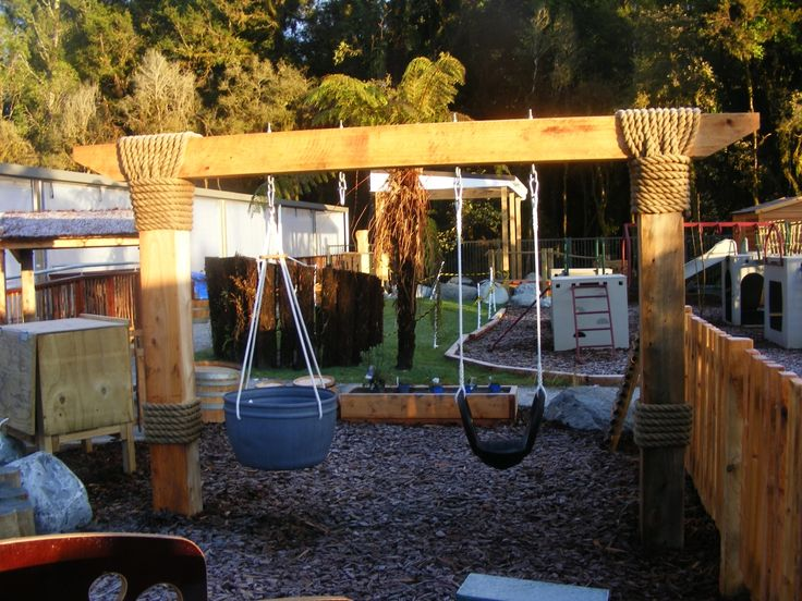 Swings in natural playground.