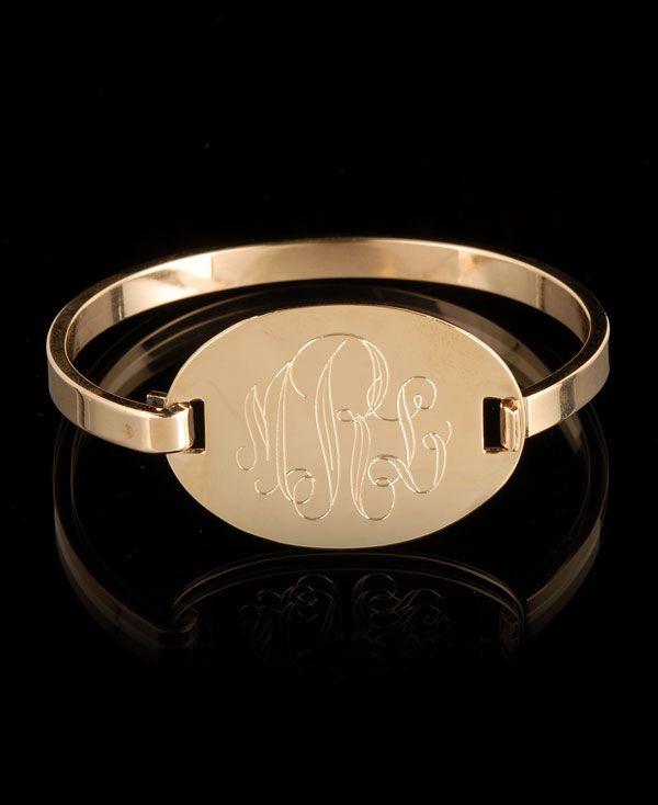Oval Monogram BangleDanielle Steven, South Moon, Steven Gold, Gold Plates, Monograms Bangles, Oval Monograms, Monograms Bracelets, Bangles Bracelets, Plates Oval