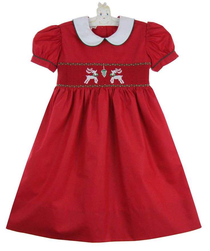 Marco & Lizzy red smocked dress with reindeer embroidery,red smocked Christmas dress for baby girls,red smocked Christmas dress for toddler girls,red smocked Christmas dress for little girls,red smocked holiday dress,red smocked Christmas dress