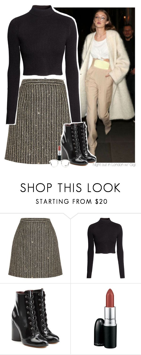 """""""Night out in London w/ Gigi"""" by amberamelia-123 ❤ liked on Polyvore featuring Yves Saint Laurent, H&M, Marc Jacobs, MAC Cosmetics and Ray-Ban"""
