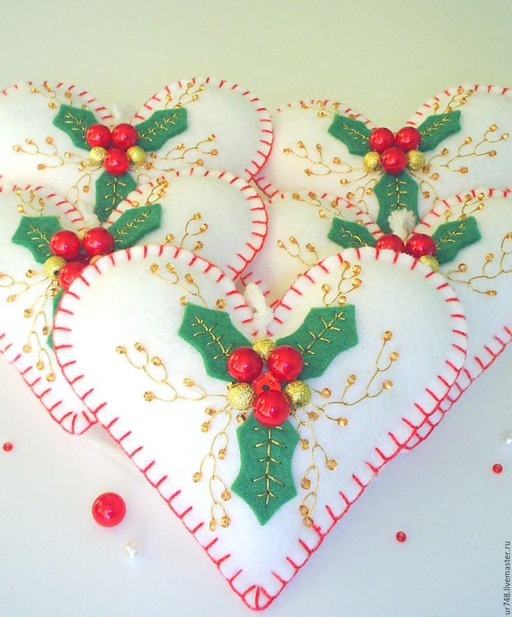 """Купить Елочные украшения сердечки """"Остролист"""" - белый, новогодние сердечки, сердечко с вышивкой, игрушки с вышивкой"""