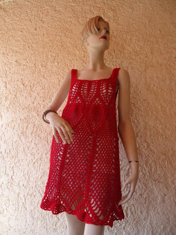 Vestido corto tejido a crochet manualidades pinterest for Gancho de ropa en ingles