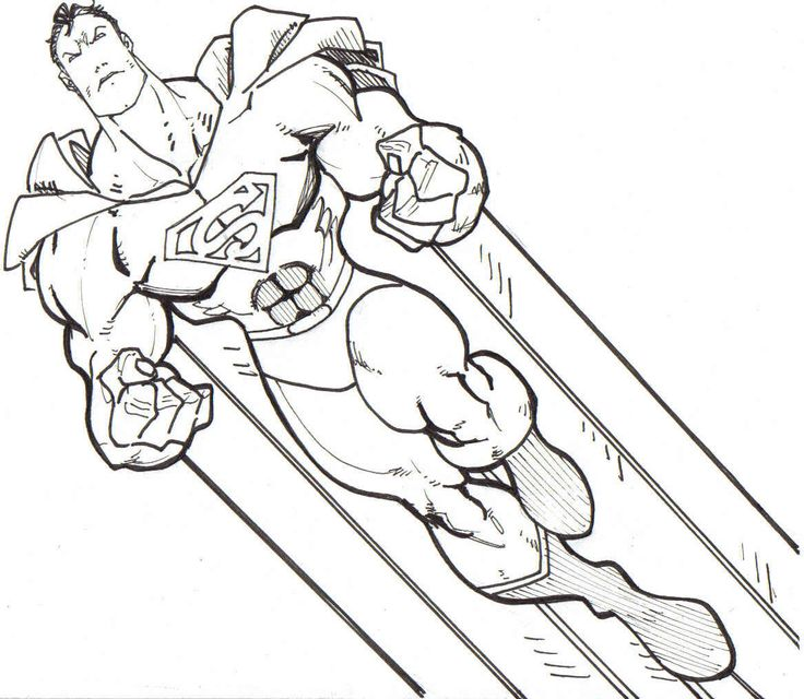 Superman Fly To Top Sky Coloring Pages