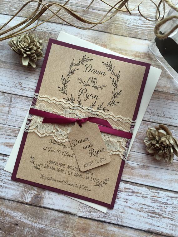 Rustic Wedding Invitation, Burgundy Wedding Invitation, Lace Wedding Invitations, Elegant Wedding Invitation, Country Wedding Invitations