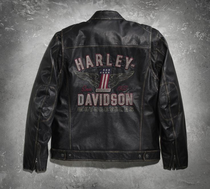 """With a name like """"Long Way,"""" you know this men's leather motorcycle jacket offers comfort and style for an extended journey. 