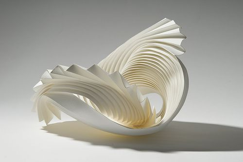 Richard Sweeney Vortex 1  Hand pleated and wet-folded watercolour paper and adhesive. Dimensions (mm): 450x300x250. Stunning!