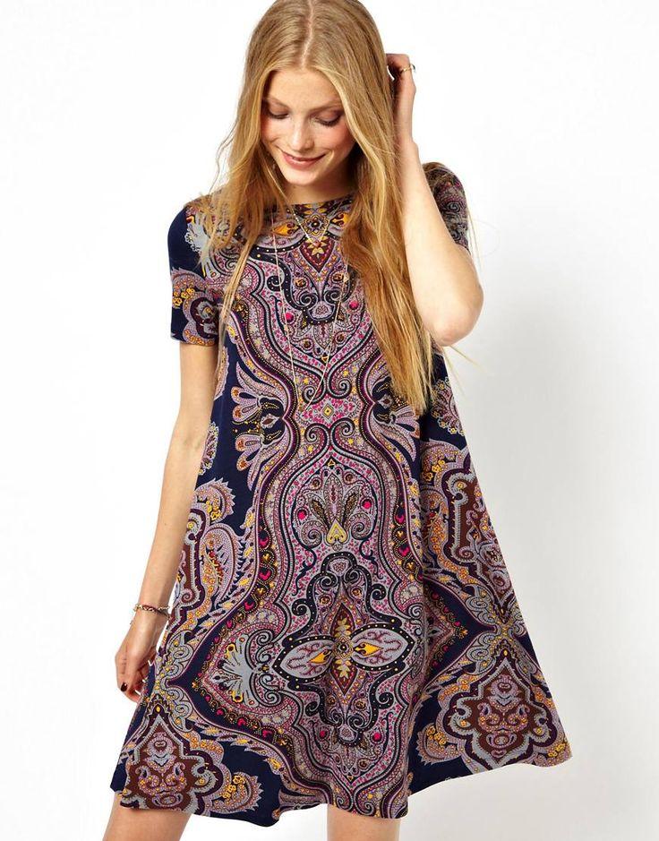 Paisley Print Swing Dress