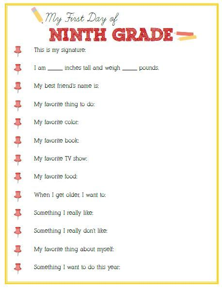 First Day of Ninth Grade Interview - Click image or link below to download - Positively Splendid {Crafts, Sewing, Recipes and Home Decor}