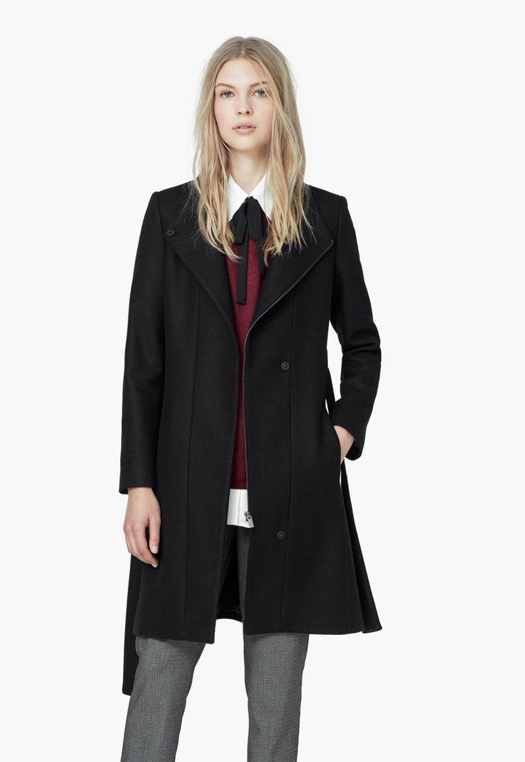 Palton negru din amestec cu lana virgina Madame - MANGO