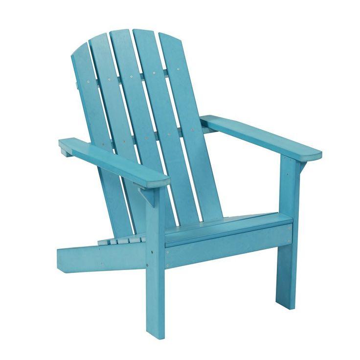 Shop Garden Treasures Windsor Bay Blue Synthetic Wood Coastal Adirondack  Chair At Lowes.com