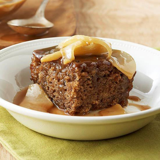 Toffee-Pear Sticky Pudding...// A fresh date and pear reduction fills the dessert; rich toffee and pear make up the indulgent sauce that's drizzled on top.