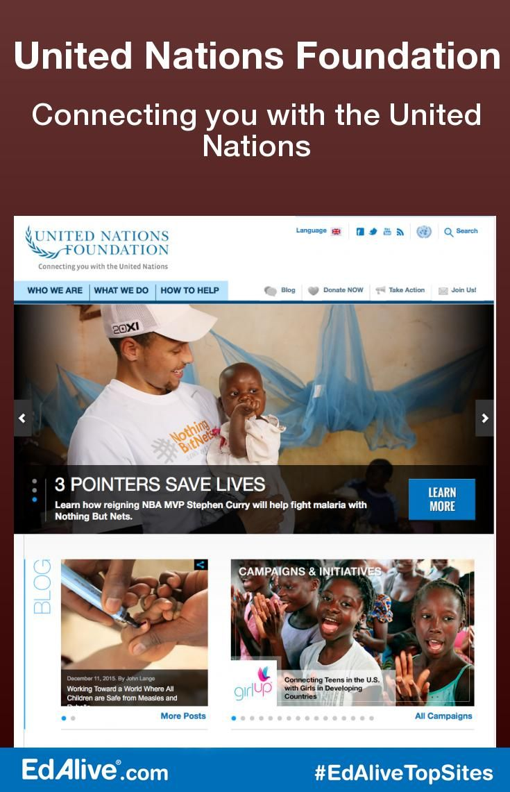 Connecting you with the United Nations | The site offers perspectives related to global issues including children's health, climate and energy, sustainable development, technology and women and population. Tackles issues including climate change, global health, peace and security, women's empowerment, poverty eradication, energy access, and U.S.-UN relations. #SocialStudies #EdAliveTopSites
