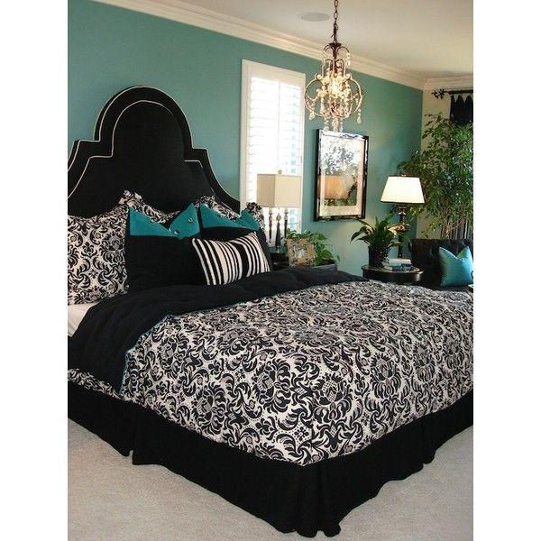 Spare bedroom black white teal damask