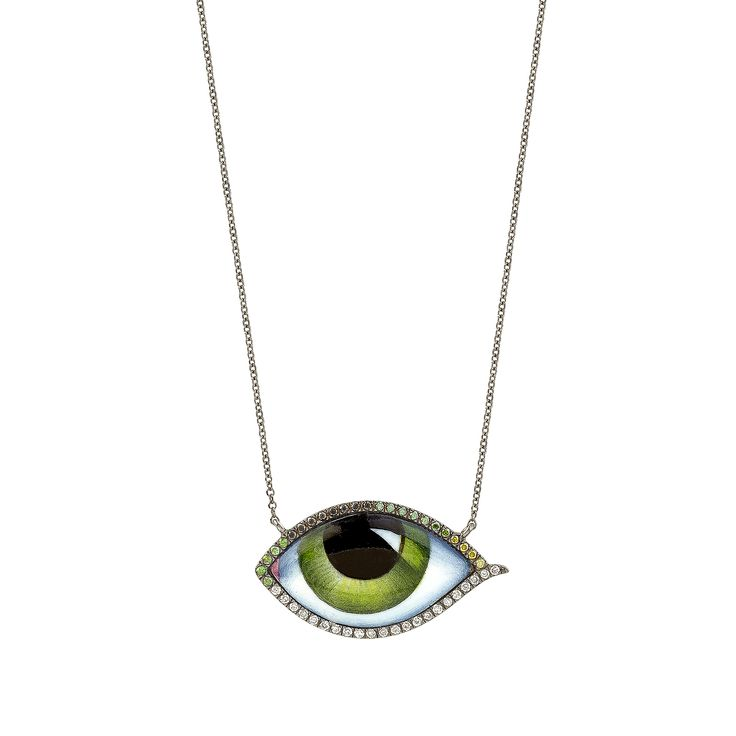 Hand painted and enamelled eye. White, green and black diamonds. www.lito-jewelry.com