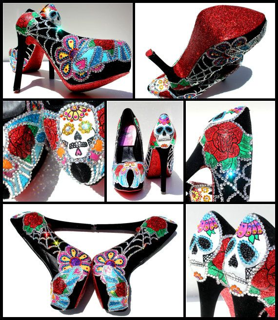 Sugar Skull Heels with Swarovski Crystals and Glitter or Day of the Dead Heels